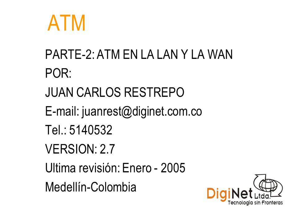 ATM PARTE-2: ATM EN LA LAN Y LA WAN POR: JUAN CARLOS RESTREPO E-mail: juanrest@diginet.com.co Tel.: 5140532 VERSION: 2.7 Ultima revisión: Enero - 2005 Medellín-Colombia