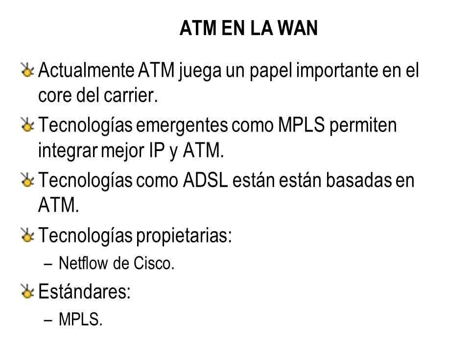 ATM EN LA WAN Actualmente ATM juega un papel importante en el core del carrier.