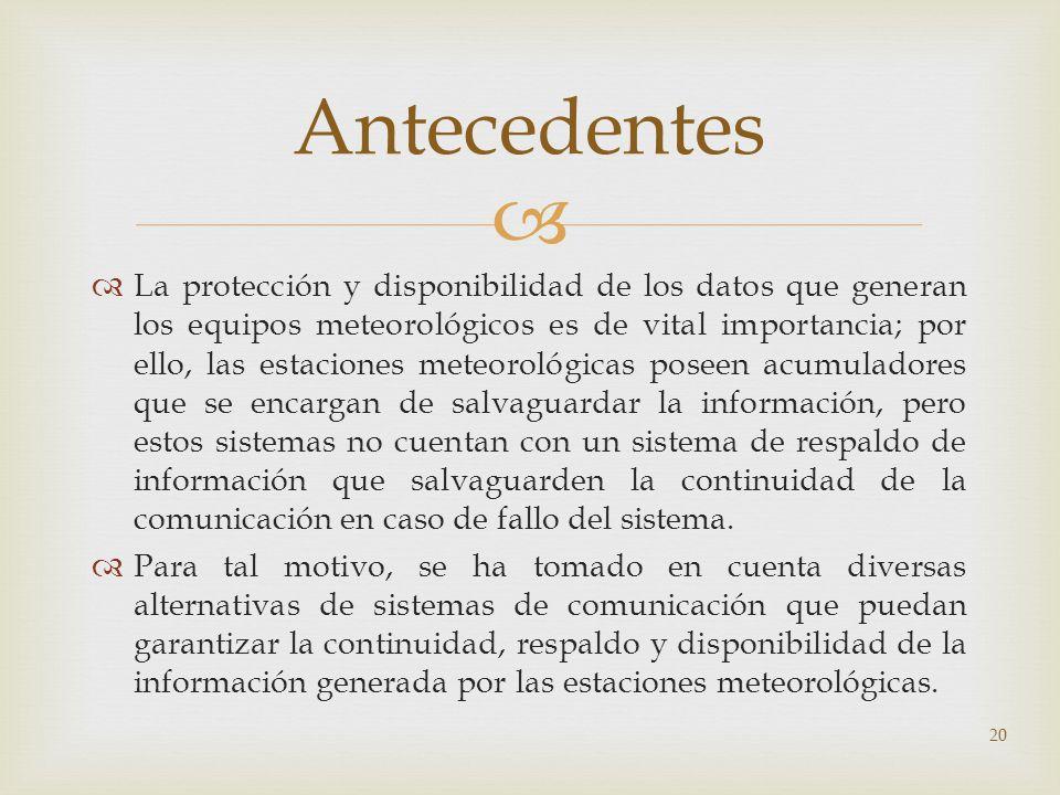 20 Antecedentes La protección y disponibilidad de los datos que generan los equipos meteorológicos es de vital importancia; por ello, las estaciones m