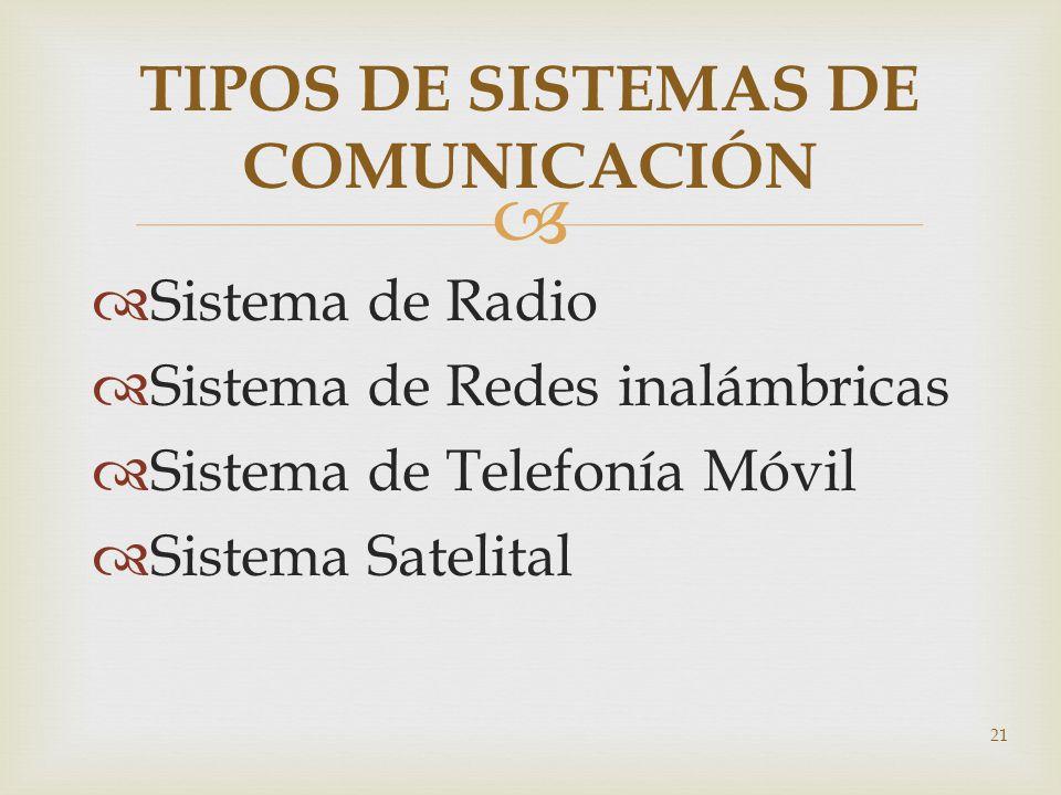 21 TIPOS DE SISTEMAS DE COMUNICACIÓN Sistema de Radio Sistema de Redes inalámbricas Sistema de Telefonía Móvil Sistema Satelital