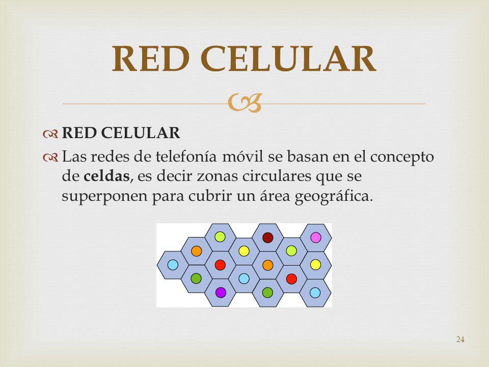 RED CELULAR Las redes de telefonía móvil se basan en el concepto de celdas, es decir zonas circulares que se superponen para cubrir un área geográfica