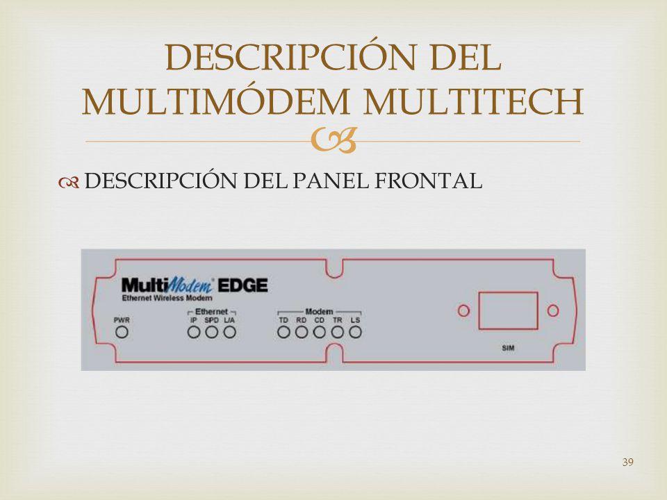 DESCRIPCIÓN DEL PANEL FRONTAL 39 DESCRIPCIÓN DEL MULTIMÓDEM MULTITECH