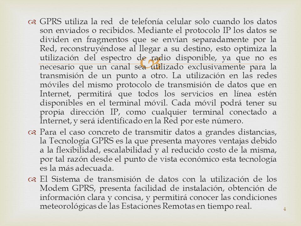 GPRS utiliza la red de telefonía celular solo cuando los datos son enviados o recibidos. Mediante el protocolo IP los datos se dividen en fragmentos q