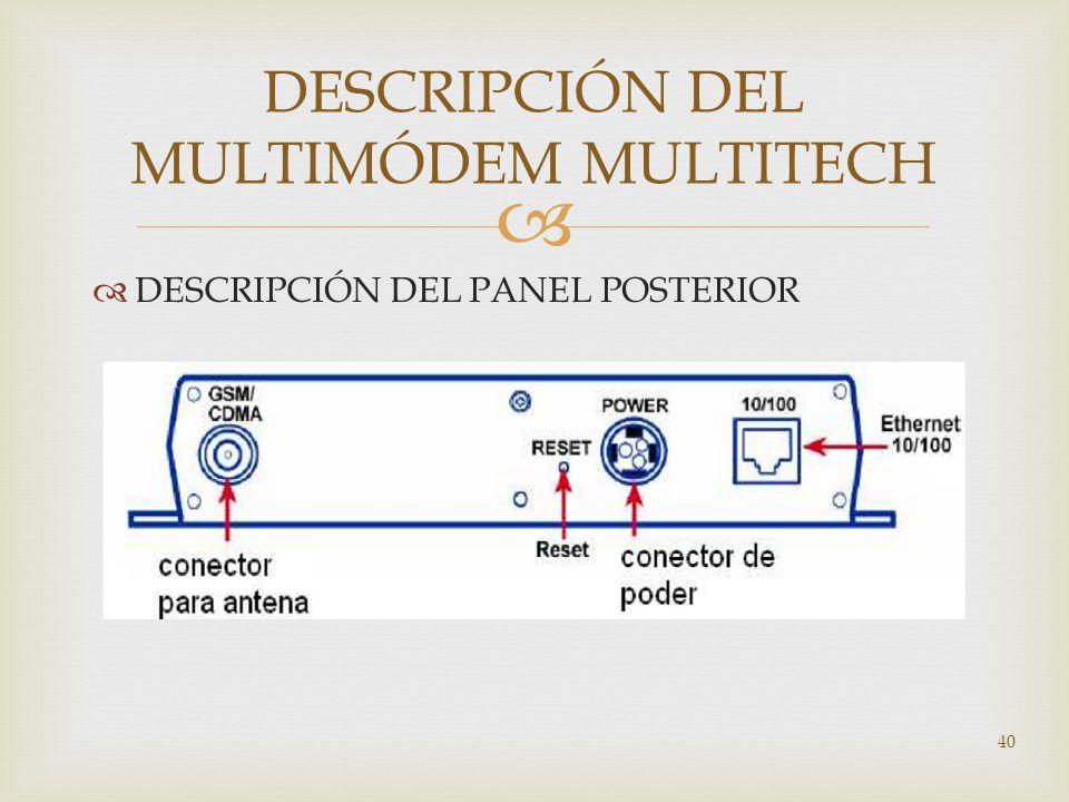 DESCRIPCIÓN DEL PANEL POSTERIOR 40 DESCRIPCIÓN DEL MULTIMÓDEM MULTITECH