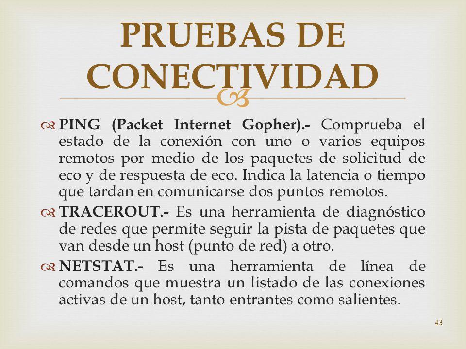 43 PRUEBAS DE CONECTIVIDAD PING (Packet Internet Gopher).- Comprueba el estado de la conexión con uno o varios equipos remotos por medio de los paquet