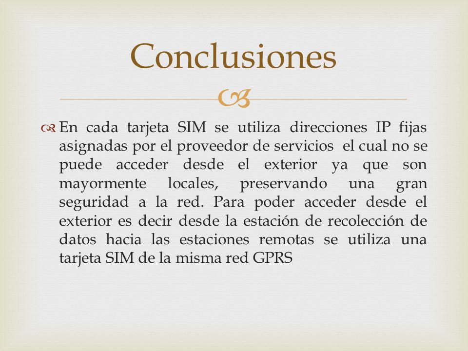 En cada tarjeta SIM se utiliza direcciones IP fijas asignadas por el proveedor de servicios el cual no se puede acceder desde el exterior ya que son m