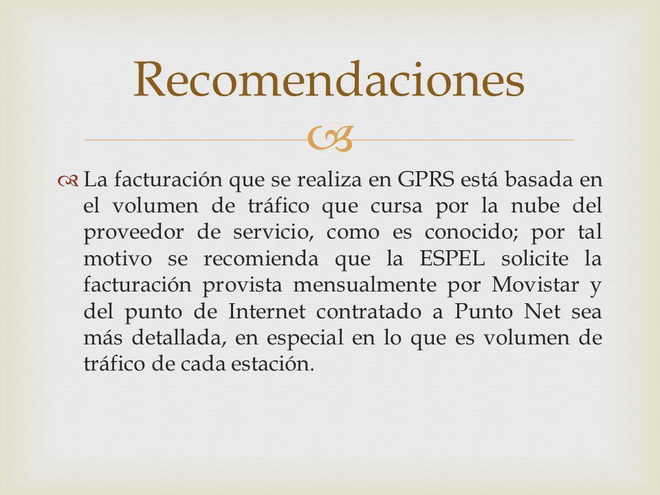 La facturación que se realiza en GPRS está basada en el volumen de tráfico que cursa por la nube del proveedor de servicio, como es conocido; por tal