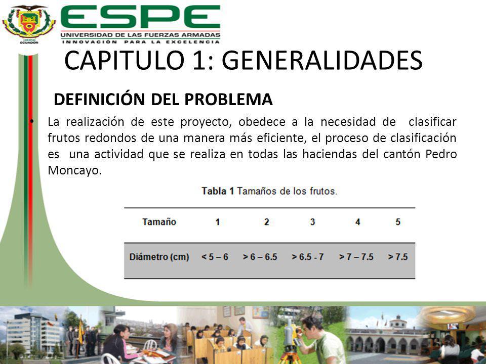 CAPITULO 1: GENERALIDADES DEFINICIÓN DEL PROBLEMA La realización de este proyecto, obedece a la necesidad de clasificar frutos redondos de una manera