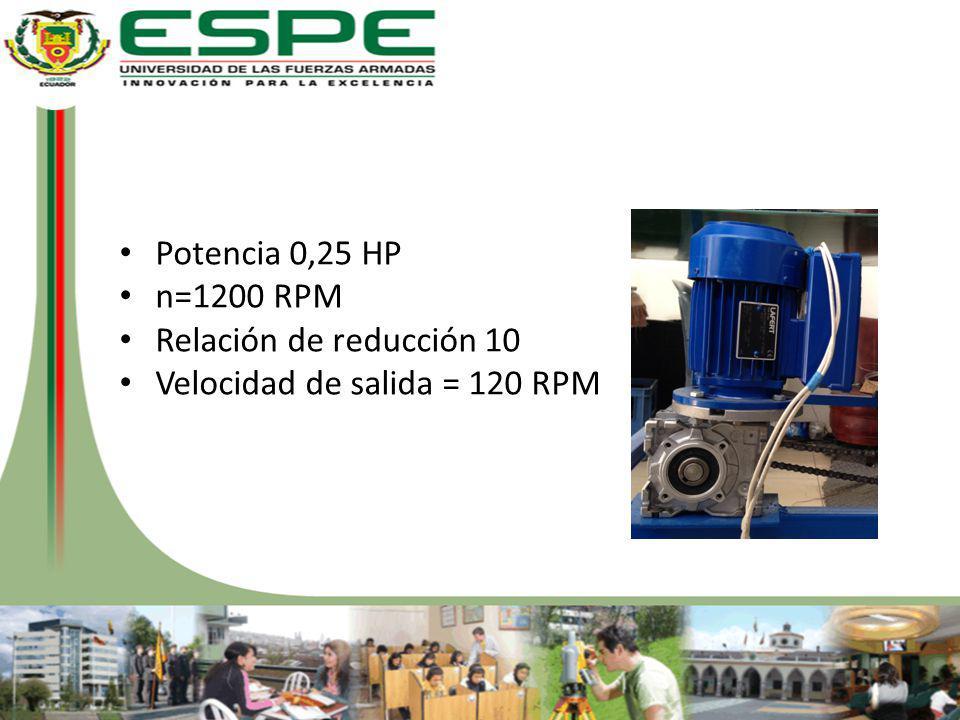 Potencia 0,25 HP n=1200 RPM Relación de reducción 10 Velocidad de salida = 120 RPM