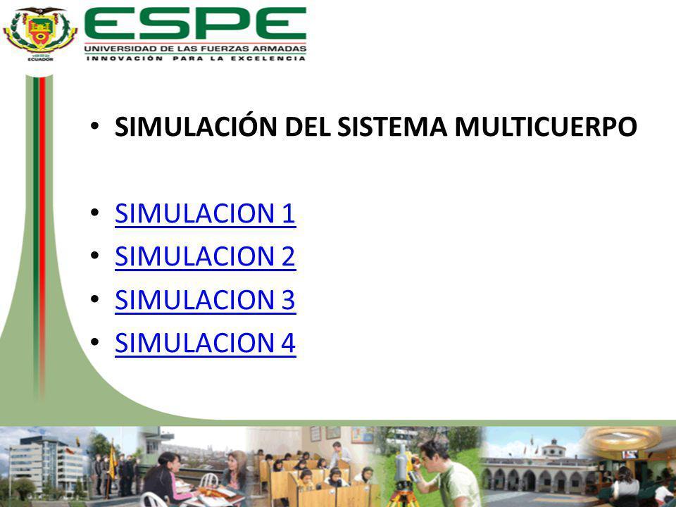 SIMULACIÓN DEL SISTEMA MULTICUERPO SIMULACION 1 SIMULACION 2 SIMULACION 3 SIMULACION 4