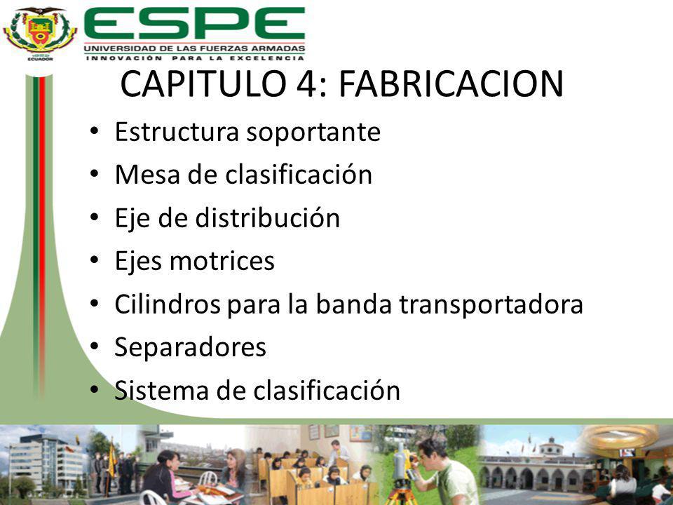 CAPITULO 4: FABRICACION Estructura soportante Mesa de clasificación Eje de distribución Ejes motrices Cilindros para la banda transportadora Separador