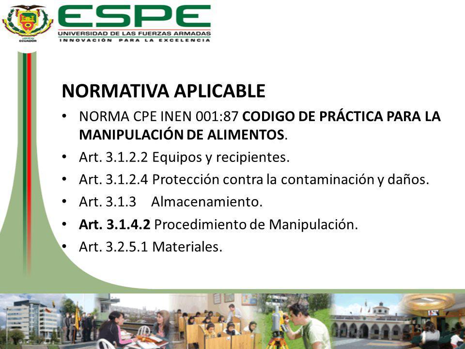 NORMATIVA APLICABLE NORMA CPE INEN 001:87 CODIGO DE PRÁCTICA PARA LA MANIPULACIÓN DE ALIMENTOS. Art. 3.1.2.2 Equipos y recipientes. Art. 3.1.2.4 Prote