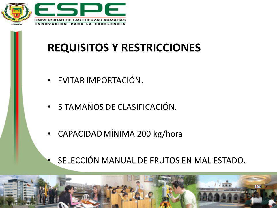 REQUISITOS Y RESTRICCIONES EVITAR IMPORTACIÓN. 5 TAMAÑOS DE CLASIFICACIÓN. CAPACIDAD MÍNIMA 200 kg/hora SELECCIÓN MANUAL DE FRUTOS EN MAL ESTADO.