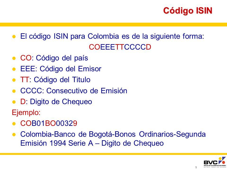 1 Código ISIN El código ISIN para Colombia es de la siguiente forma: COEEETTCCCCD CO: Código del país EEE: Código del Emisor TT: Código del Titulo CCCC: Consecutivo de Emisión D: Digito de Chequeo Ejemplo: COB01BO00329 Colombia-Banco de Bogotá-Bonos Ordinarios-Segunda Emisión 1994 Serie A – Digito de Chequeo