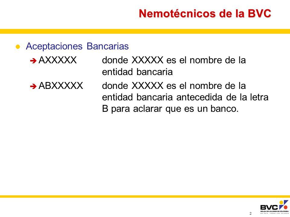 2 Nemotécnicos de la BVC Aceptaciones Bancarias AXXXXXdonde XXXXX es el nombre de la entidad bancaria ABXXXXXdonde XXXXX es el nombre de la entidad bancaria antecedida de la letra B para aclarar que es un banco.