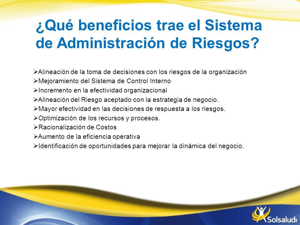 ¿Qué beneficios trae el Sistema de Administración de Riesgos.