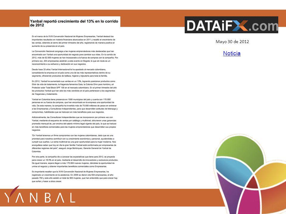 Mayo 30 de 2012 Noticia