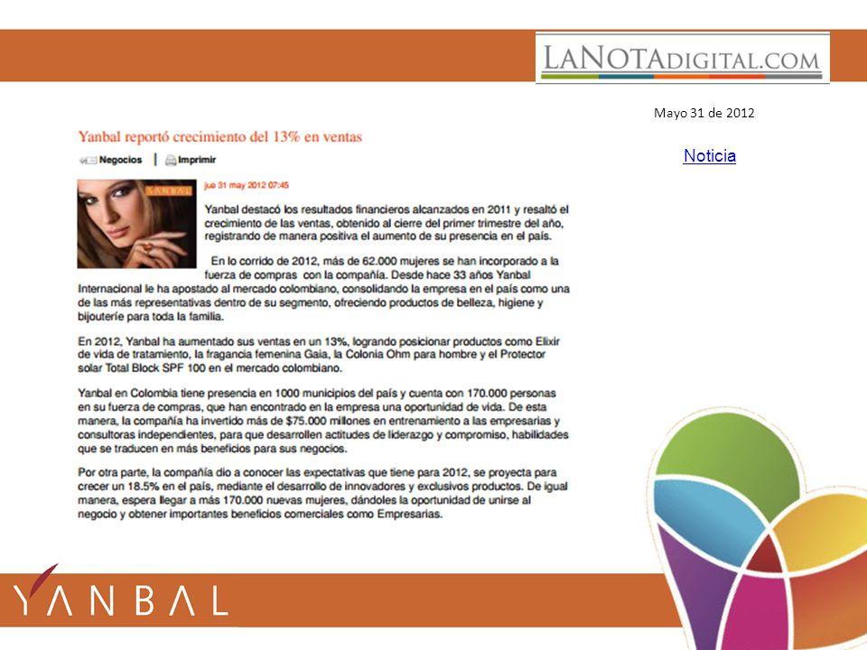 Mayo 31 de 2012 Noticia