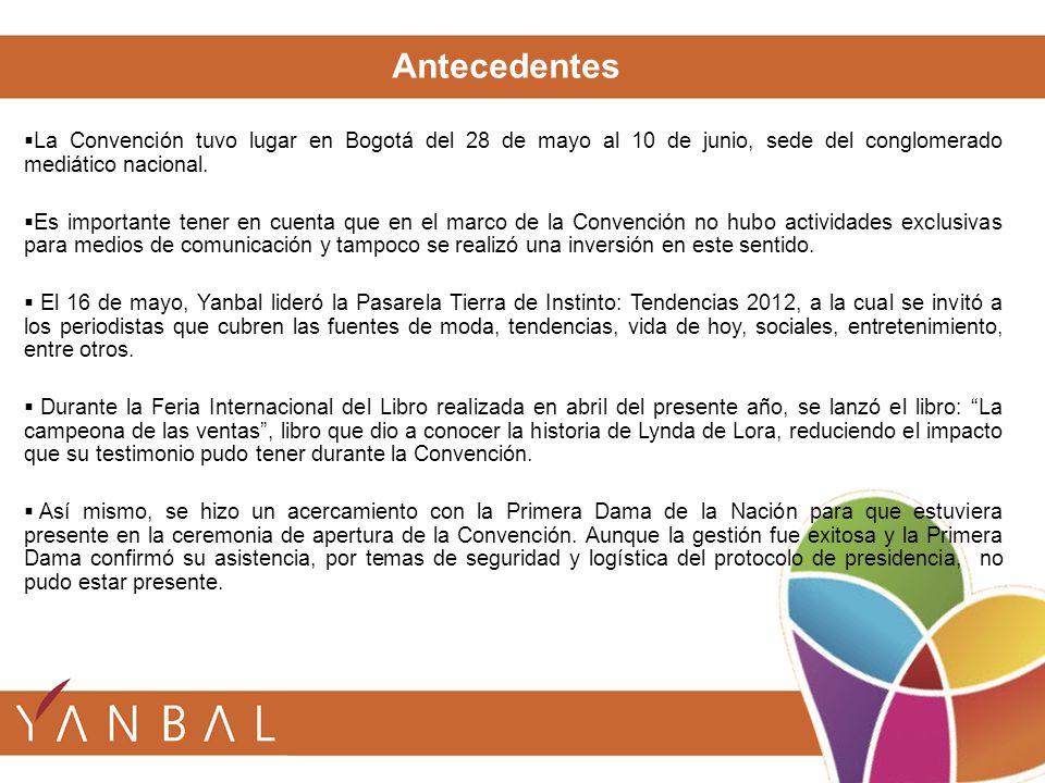 La Convención tuvo lugar en Bogotá del 28 de mayo al 10 de junio, sede del conglomerado mediático nacional. Es importante tener en cuenta que en el ma