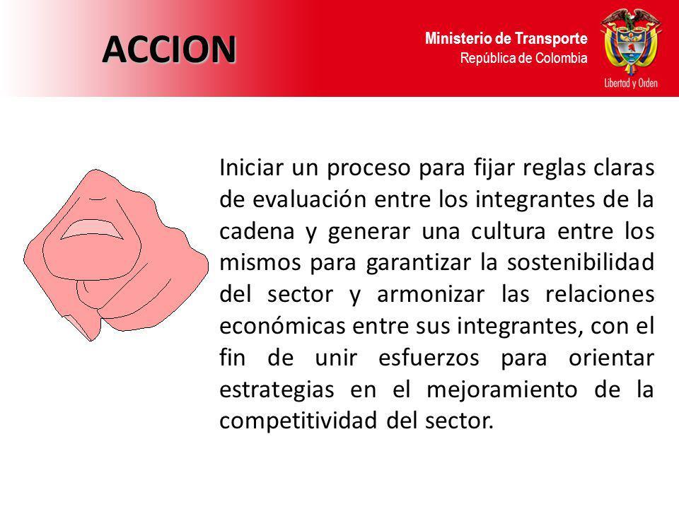 Ministerio de Transporte República de Colombia ACCION Iniciar un proceso para fijar reglas claras de evaluación entre los integrantes de la cadena y g