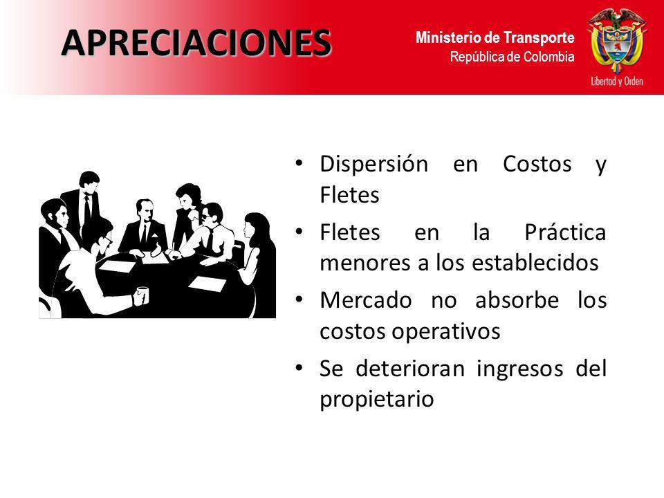 Ministerio de Transporte República de ColombiaAPRECIACIONES Dispersión en Costos y Fletes Fletes en la Práctica menores a los establecidos Mercado no