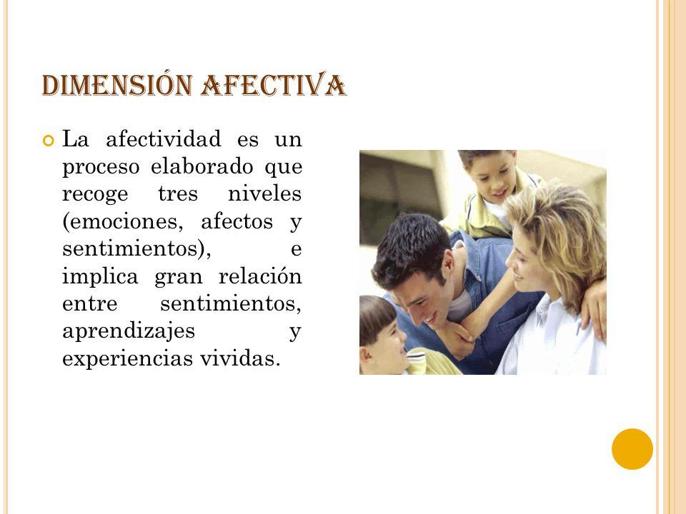 DIMENSIÓN AFECTIVA La afectividad es un proceso elaborado que recoge tres niveles (emociones, afectos y sentimientos), e implica gran relación entre s