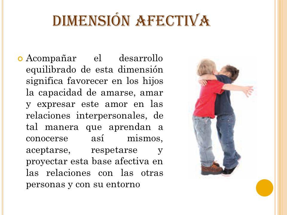 DIMENSIÓN AFECTIVA Acompañar el desarrollo equilibrado de esta dimensión significa favorecer en los hijos la capacidad de amarse, amar y expresar este
