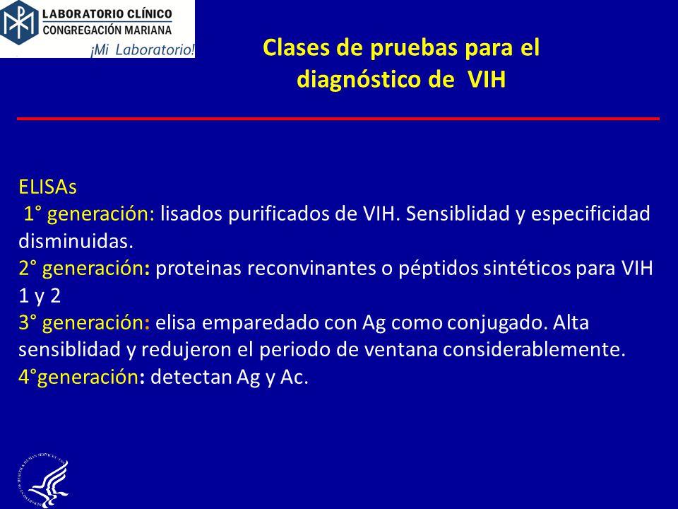 Clases de pruebas para el diagnóstico de VIH ELISAs 1° generación: lisados purificados de VIH. Sensiblidad y especificidad disminuidas. 2° generación: