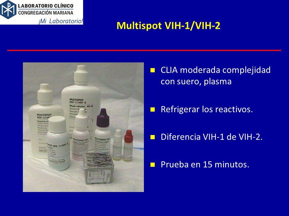 Multispot VIH-1/VIH-2 CLIA moderada complejidad con suero, plasma Refrigerar los reactivos.