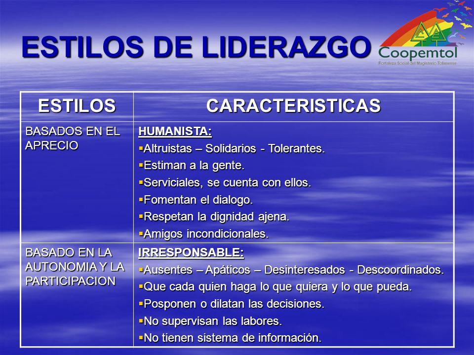 ESTILOS DE LIDERAZGO ESTILOSCARACTERISTICAS BASADOS EN EL APRECIO HUMANISTA: Altruistas – Solidarios - Tolerantes.