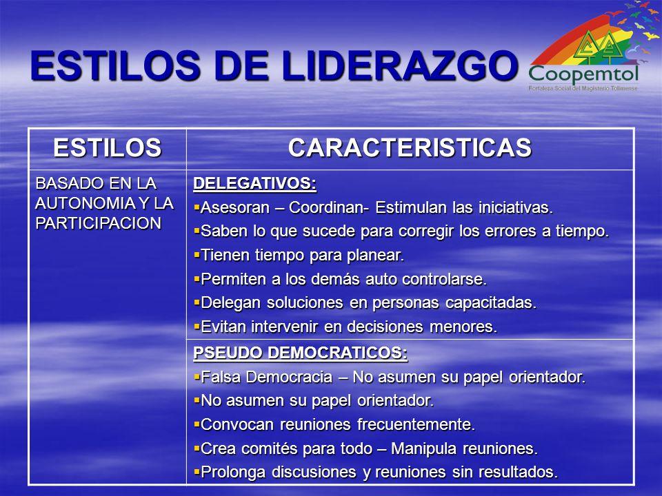 ESTILOS DE LIDERAZGO ESTILOSCARACTERISTICAS BASADO EN LA AUTONOMIA Y LA PARTICIPACION DELEGATIVOS: Asesoran – Coordinan- Estimulan las iniciativas.