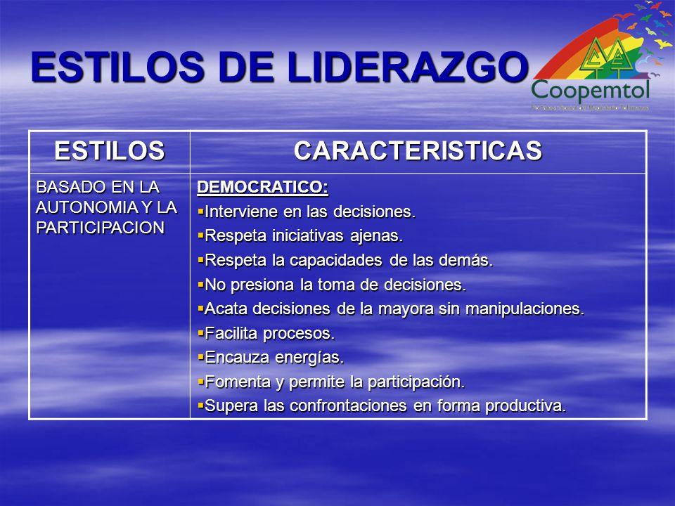 ESTILOS DE LIDERAZGO ESTILOSCARACTERISTICAS BASADO EN LA AUTONOMIA Y LA PARTICIPACION DEMOCRATICO: Interviene en las decisiones.