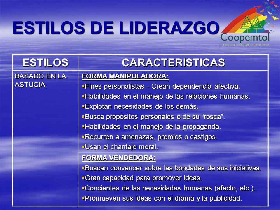ESTILOS DE LIDERAZGO ESTILOSCARACTERISTICAS BASADO EN LA ASTUCIA FORMA MANIPULADORA: Fines personalistas - Crean dependencia afectiva.