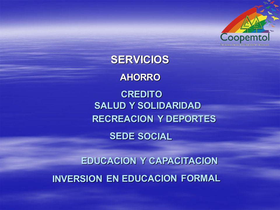 SERVICIOS AHORRO AHORRO CREDITO CREDITO SALUD Y SOLIDARIDAD RECREACION Y DEPORTES EDUCACION Y CAPACITACION SEDE SOCIAL INVERSION EN EDUCACION FORMAL