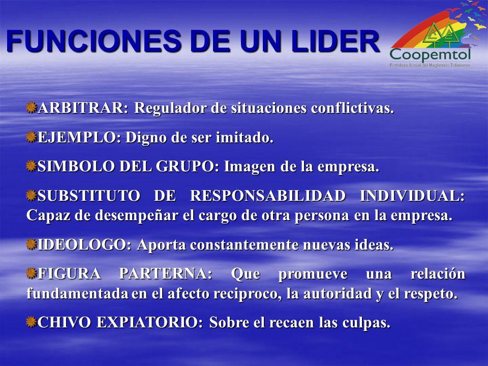 FUNCIONES DE UN LIDER ARBITRAR: Regulador de situaciones conflictivas.