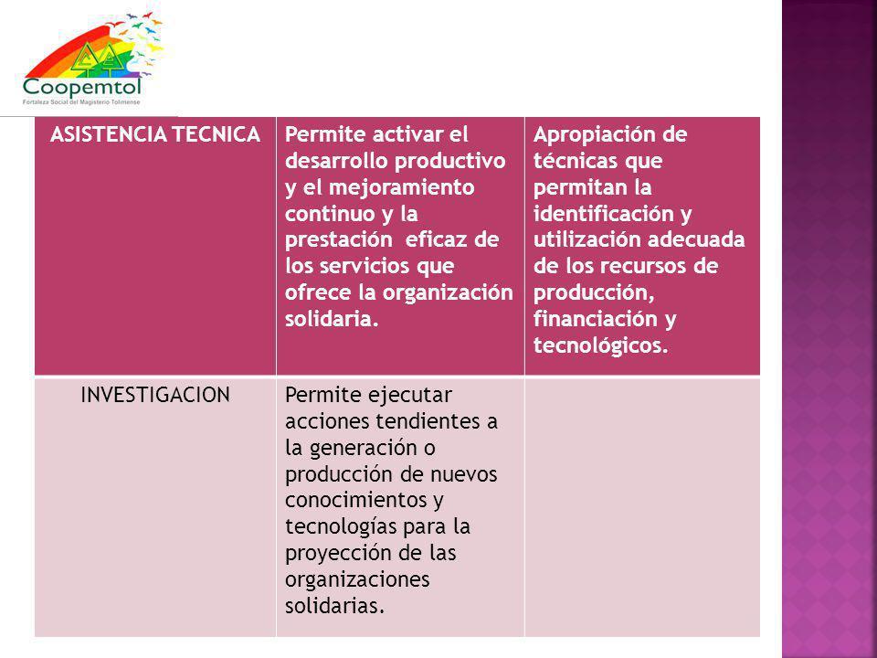 ASISTENCIA TECNICAPermite activar el desarrollo productivo y el mejoramiento continuo y la prestación eficaz de los servicios que ofrece la organización solidaria.