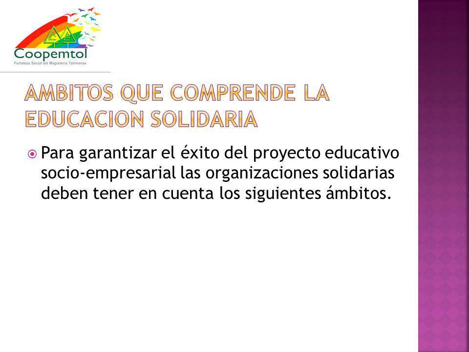 Para garantizar el éxito del proyecto educativo socio-empresarial las organizaciones solidarias deben tener en cuenta los siguientes ámbitos.