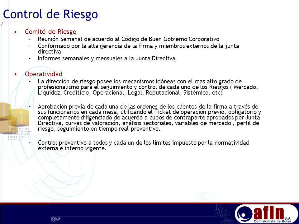Control de Riesgo Comité de Riesgo –Reunión Semanal de acuerdo al Código de Buen Gobierno Corporativo –Conformado por la alta gerencia de la firma y m
