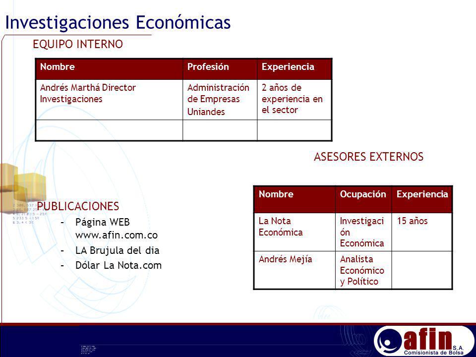 Investigaciones Económicas NombreProfesiónExperiencia Andrés Marthá Director Investigaciones Administración de Empresas Uniandes 2 años de experiencia