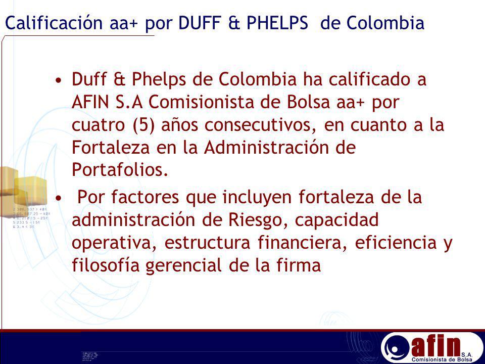 Calificación aa+ por DUFF & PHELPS de Colombia Duff & Phelps de Colombia ha calificado a AFIN S.A Comisionista de Bolsa aa+ por cuatro (5) años consec