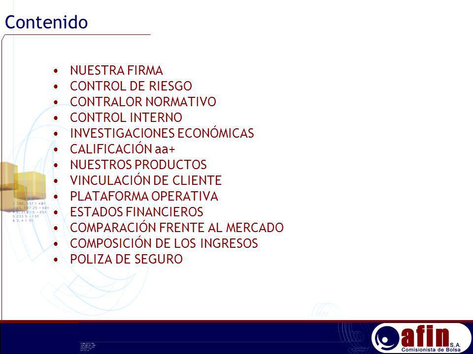 Contenido NUESTRA FIRMA CONTROL DE RIESGO CONTRALOR NORMATIVO CONTROL INTERNO INVESTIGACIONES ECONÓMICAS CALIFICACIÓN aa+ NUESTROS PRODUCTOS VINCULACI