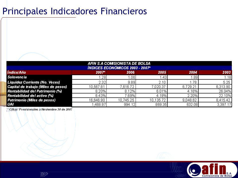 Principales Indicadores Financieros