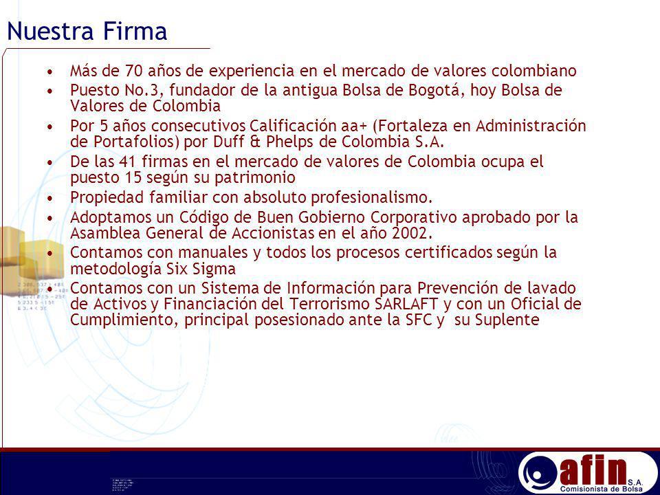 Nuestra Firma Más de 70 años de experiencia en el mercado de valores colombiano Puesto No.3, fundador de la antigua Bolsa de Bogotá, hoy Bolsa de Valo
