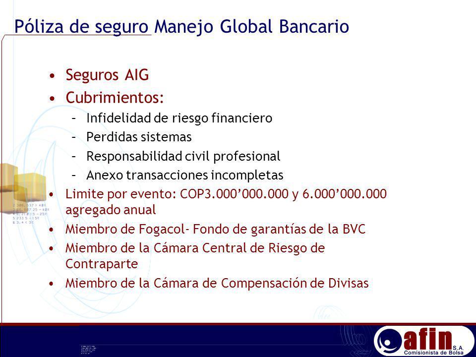 Seguros AIG Cubrimientos: –Infidelidad de riesgo financiero –Perdidas sistemas –Responsabilidad civil profesional –Anexo transacciones incompletas Lim