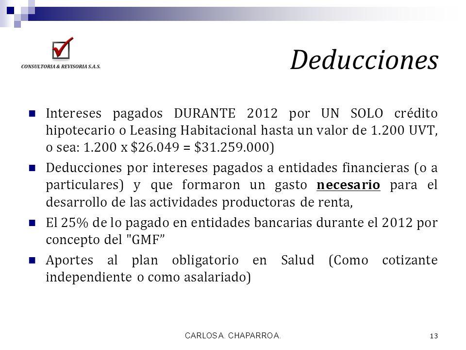 Deducciones Intereses pagados DURANTE 2012 por UN SOLO crédito hipotecario o Leasing Habitacional hasta un valor de 1.200 UVT, o sea: 1.200 x $26.049