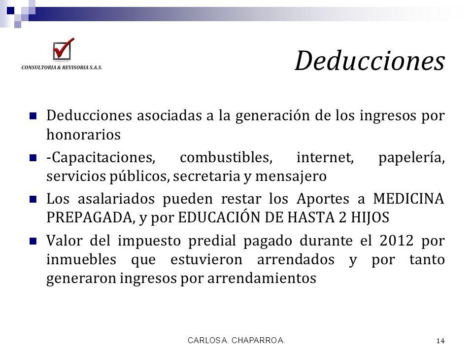 Deducciones Deducciones asociadas a la generación de los ingresos por honorarios -Capacitaciones, combustibles, internet, papelería, servicios público