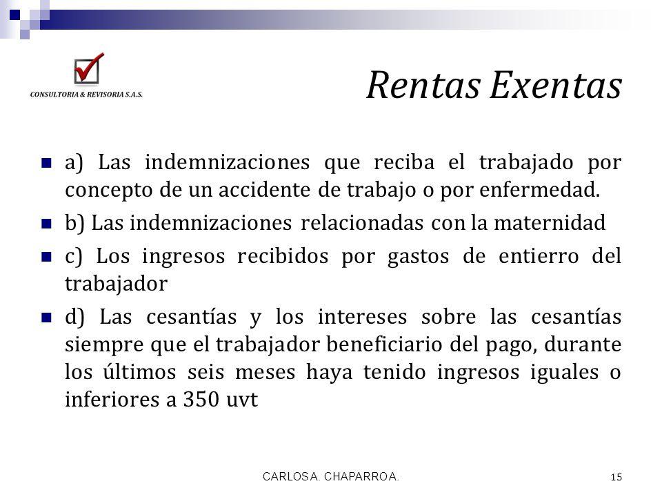 Rentas Exentas a) Las indemnizaciones que reciba el trabajado por concepto de un accidente de trabajo o por enfermedad. b) Las indemnizaciones relacio