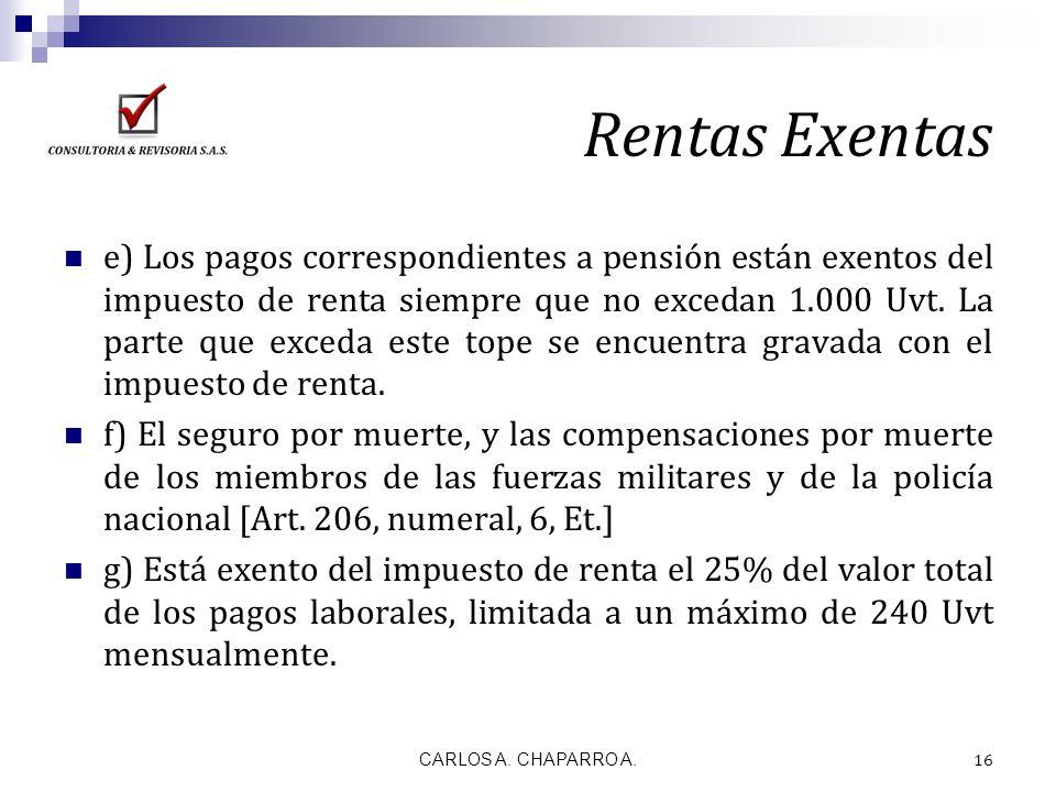 Rentas Exentas e) Los pagos correspondientes a pensión están exentos del impuesto de renta siempre que no excedan 1.000 Uvt. La parte que exceda este