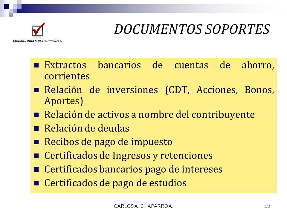 CARLOS A. CHAPARRO A. 18 DOCUMENTOS SOPORTES Extractos bancarios de cuentas de ahorro, corrientes Relación de inversiones (CDT, Acciones, Bonos, Aport