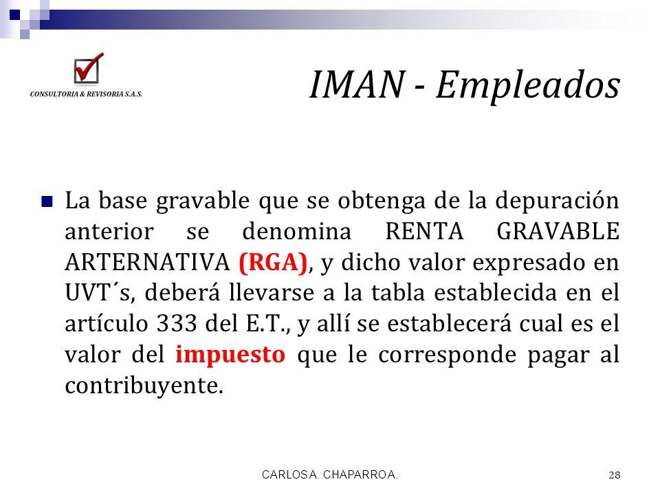 IMAN - Empleados La base gravable que se obtenga de la depuración anterior se denomina RENTA GRAVABLE ARTERNATIVA (RGA), y dicho valor expresado en UV